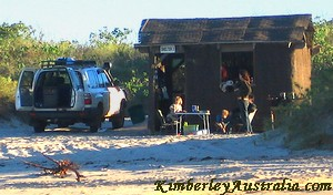 Beach shelter accommodation at Middle Lagoon