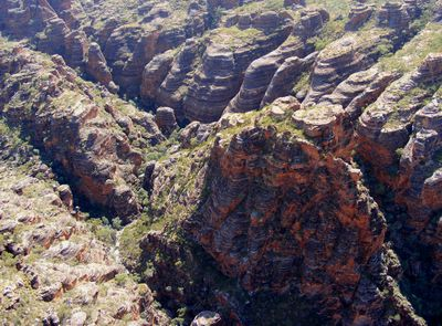 Aerial view of a gorge in the Bungle Bungles