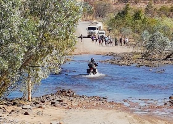 Crossing the Pentecost River on a motorbike