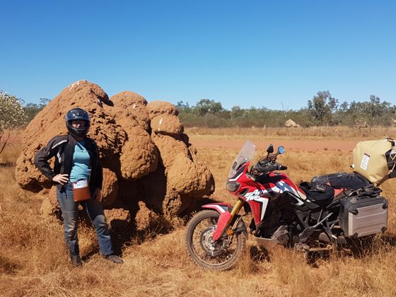 Helen and her motorbike on the Gibb River Road