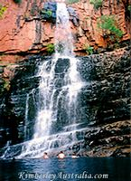 Wet season waterfall on Lake Kununurra