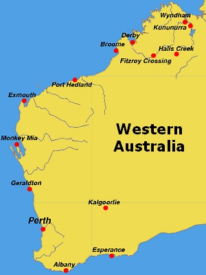 Of Western Australia - Map of western australia with towns