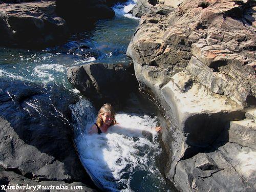 Swimming above Little Mertens Falls