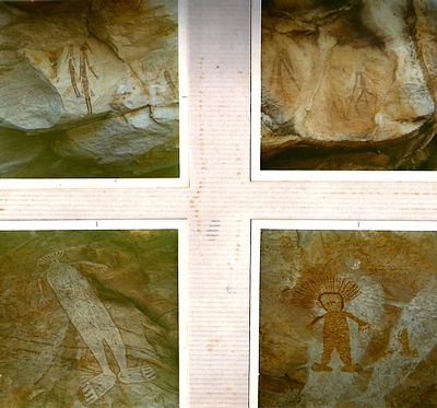 Cave paintings mostly from across the water at Port Warrender