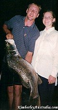 Tara caught that Barramundi. JP is only holding it.