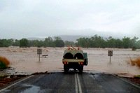 Flooded highway in the Kimberley wet season.