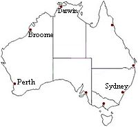Overview Map of Broome in Australia