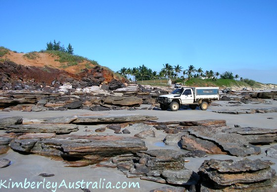 Driving across the rocks on Cable Beach 2