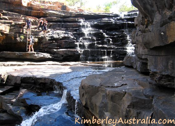 Climbing down to the first pool of Grevillea Gorge