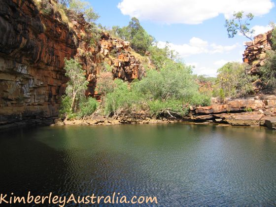 The large and deep first pool of Grevillea Gorge