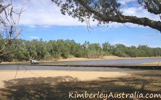 Crossing the Fitzroy River on the Old Concrete Crossing