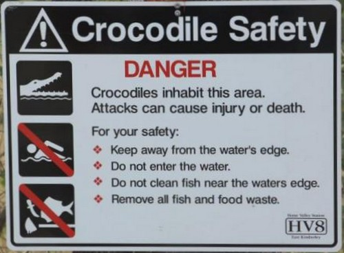 Crocodile warning sign in the Kimberley
