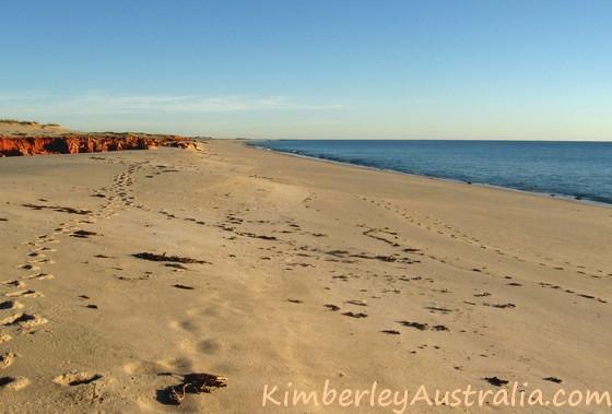 Lone footprints on Western Beach, Kooljaman Resort