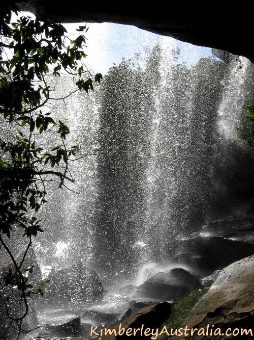 Looking out from the cave under Little Mertens waterfall