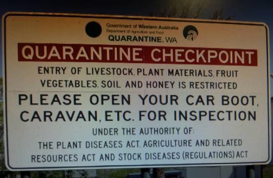 Western Australia Quarantine Sign