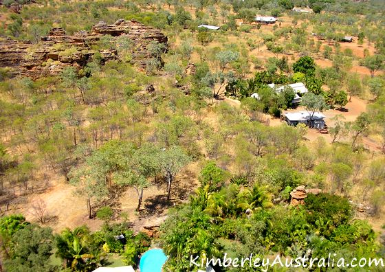 Houses amongst shrubs and rocky outcrops