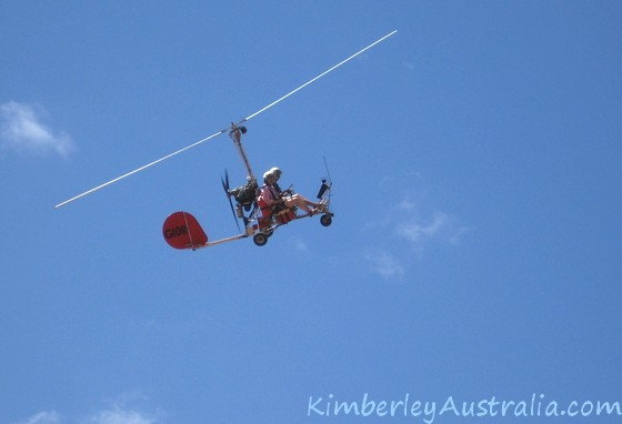 The gyrocopter in the air