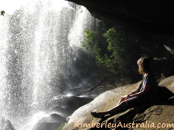 Enjoying the peace sitting below the curtain of Mertens Falls