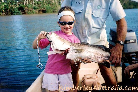 Barramnudi fishing: young Brooke with her barra