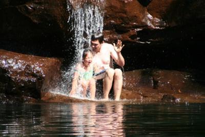 Having a shower at Galvans Gorge