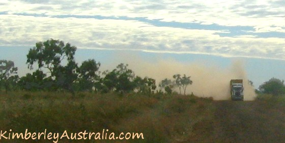 Road train kicking up dust