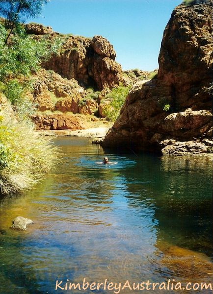 Swimming in Kununurra, in a pool after the waterfall has dried up.