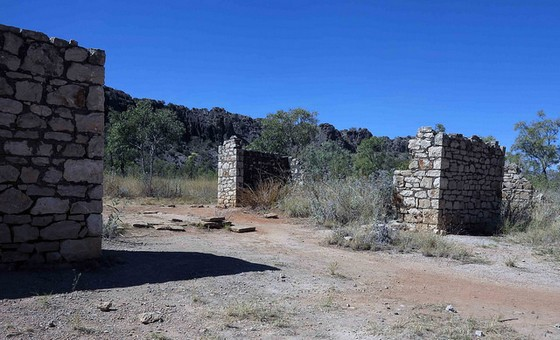 Ruins of the Lillimooloora Police Station, in the background the Napier Range.