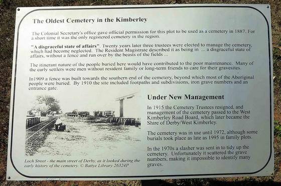 Plaque at Derby' Pioneer Cemetery